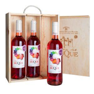 Estuche de madera 3 botellas Rosado